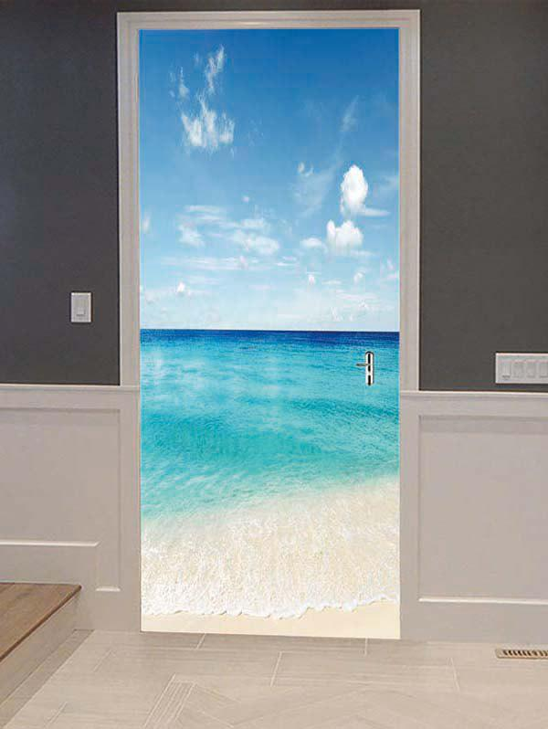 New Fine Day Beach Print Door Cover Stickers