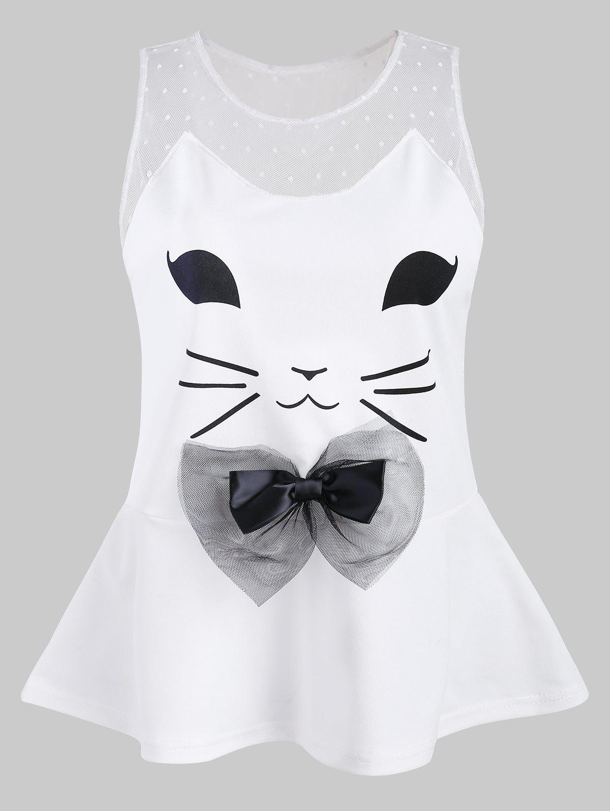 Sale Cat Pattern Mesh Panel Tank Top