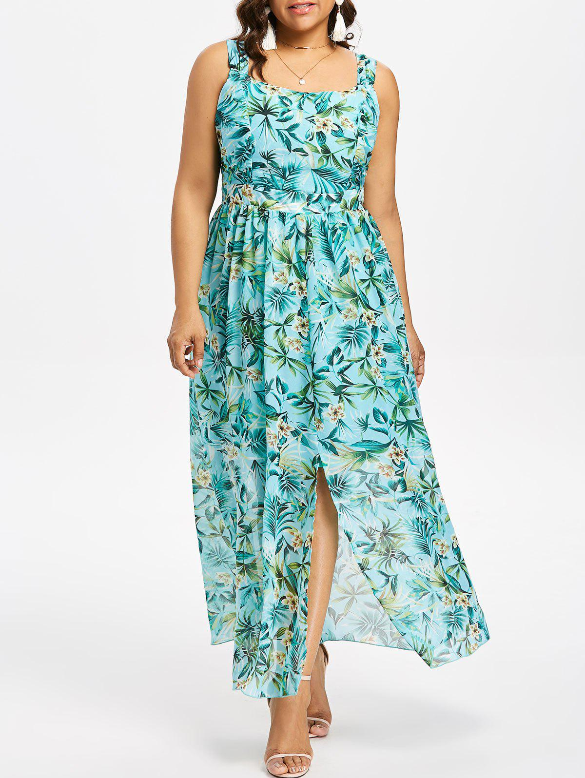 46% OFF] Plus Size Floral Square Neck Maxi Flowing Dress | Rosegal