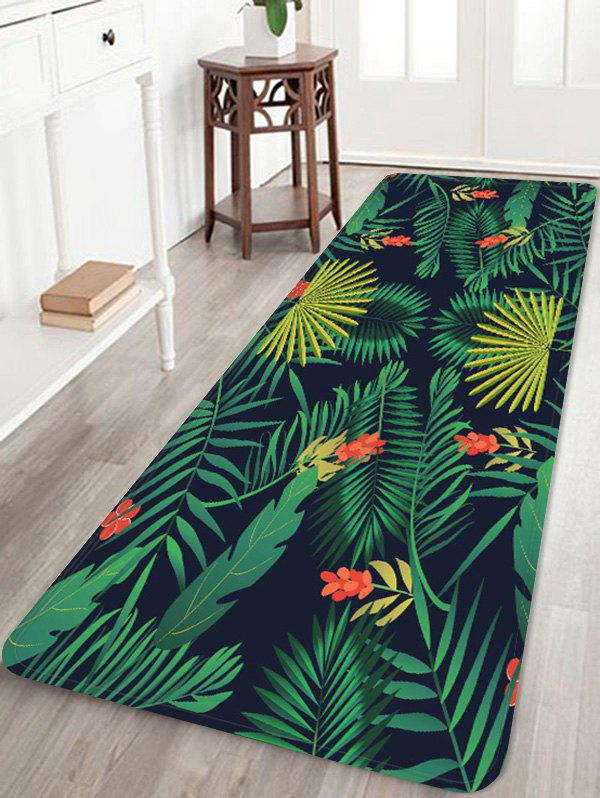 Chic Leaf Flower Printed Coral Fleece Floor Rug