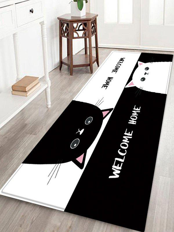 Store Uhommi Black and White Cartoon Cats Print Antiskid Floor Rug