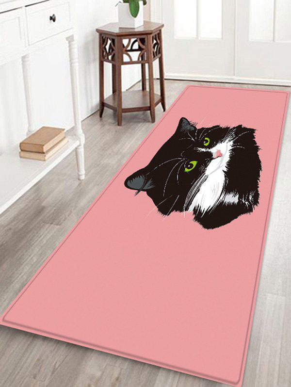 Affordable Uhommi Black Cat Painting Pink Background Print Antiskid Floor Rug