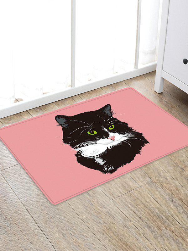 Trendy Uhommi Black Cat Painting Pink Background Print Antiskid Floor Rug