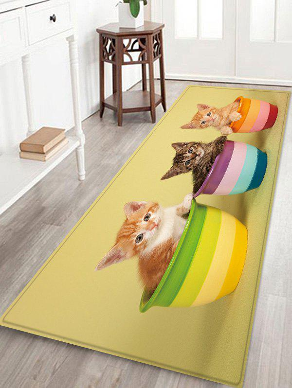 Shop Uhommi Kitten in the Flower Pot Print Bath Decor Floor Rug