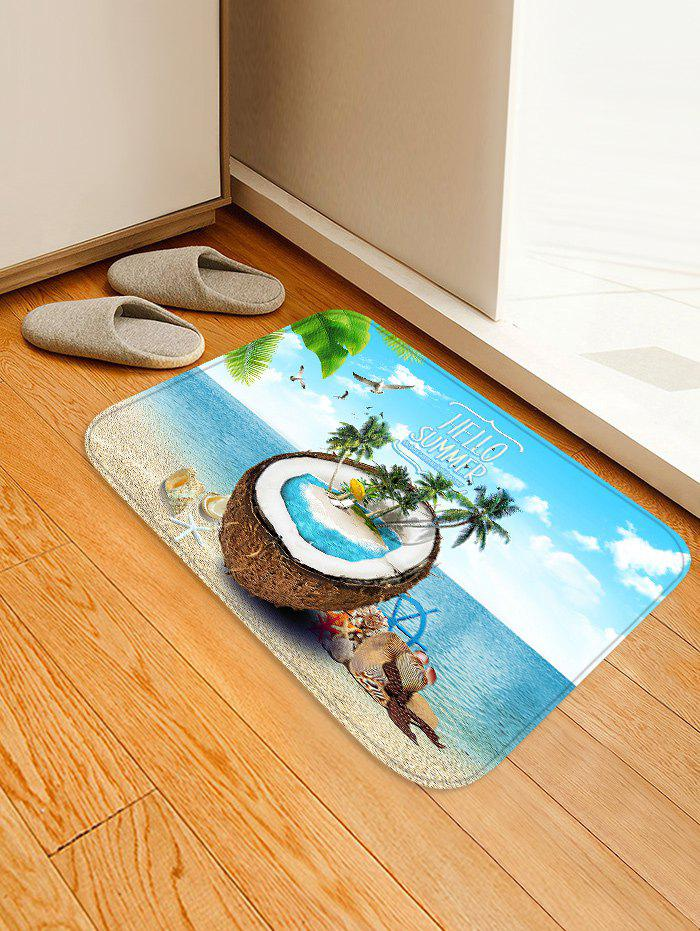 Latest Uhommi Seaside Coconut and Tree Print Water Absorption Floor Rug
