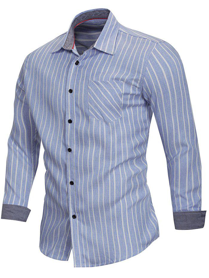 Store Stripe Print Button Up Slim Fit Shirt