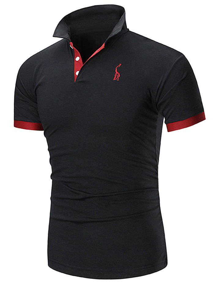 Fashion Slim Fit Embroidery Giraffe Polo T-shirt