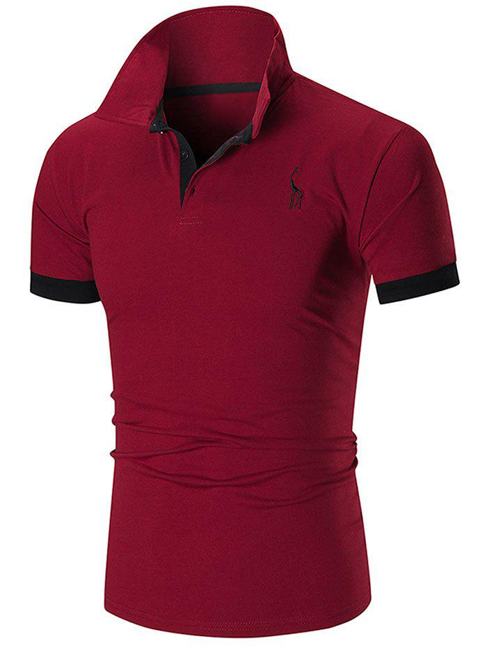 Cheap Slim Fit Embroidery Giraffe Polo T-shirt