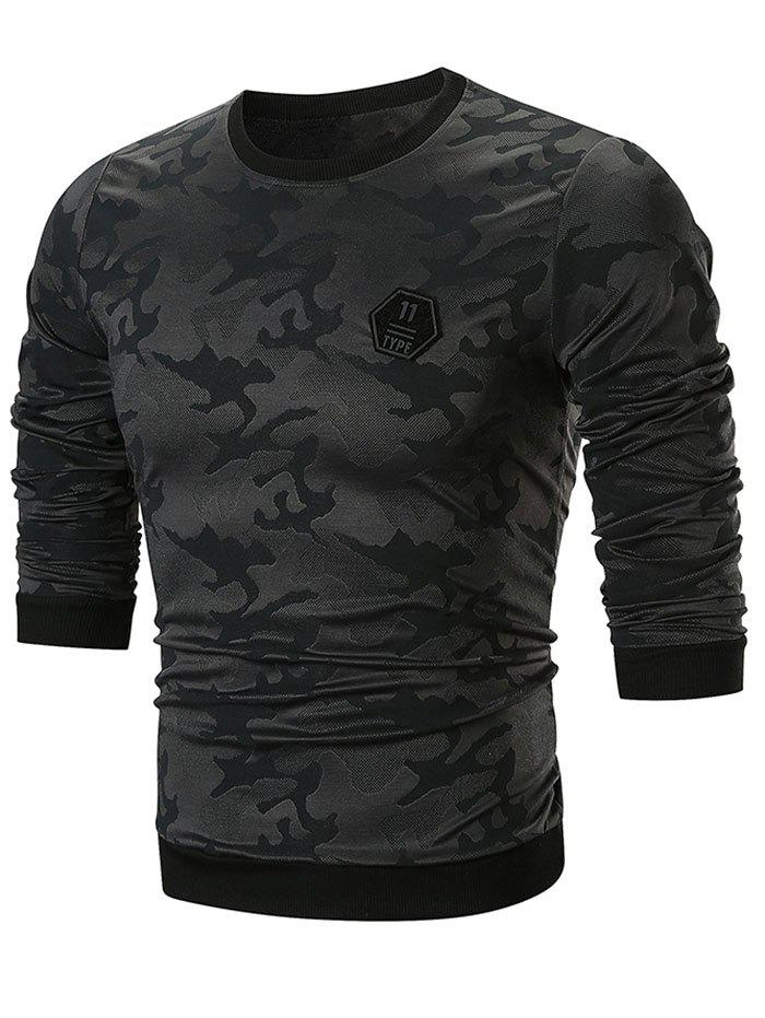 Sweat-shirt Camouflage Applique à Col Rond