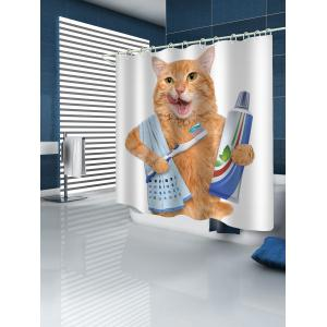 Rideau de douche de brossage de dents de chat d'orange -