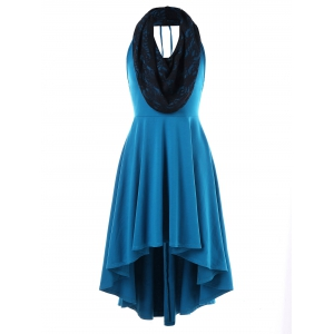 Convertible Hooded High Low Swing Dress -