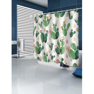 Handpainted Cactus Print Shower Curtain -