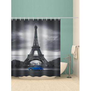 Eiffel Tower Blue Car Print Shower Curtain -
