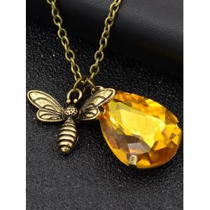 Carved Bee Decorated Water Drop Pendant Chain Necklace -