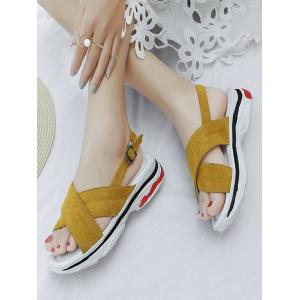 Plus Size Cross Strap Casual Platform Heel Sandals -