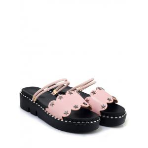 Plus Size Casual Reversible Star Studs Platform Slides -