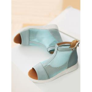 Peep Toe Low Heel Casual Buckled Sandals -