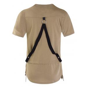 Drawstring Hem Back Belt Decorated Tee -