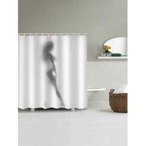 Sexy Silhouette Print Waterproof Bathroom Shower Curtain -