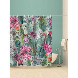 Flowers Succulents Print Waterproof Bathroom Shower Curtain -