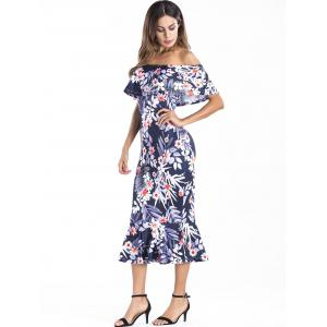 Off The Shoulder Ruffle Insert Floral Dress -