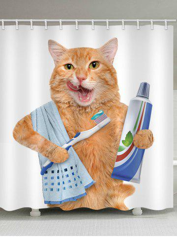 Shops Orange Cat Brushing Teeth Print Shower Curtain