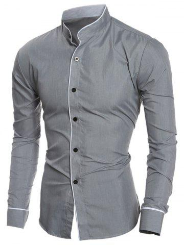 Outfit Edging Design Long Sleeve Grandad Chinese Collar Shirt