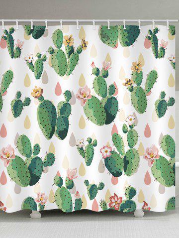 Unique Handpainted Cactus Print Shower Curtain
