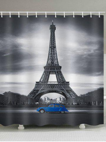 Fancy Eiffel Tower Blue Car Print Shower Curtain