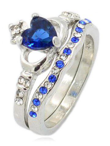 Best Rhinestone Faux Sapphire Crown Anniversary Ring