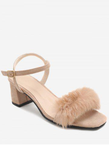 Discount Plus Size Fuzzy Block Heel Ankle Wrap Chic Sandals