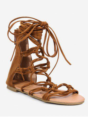 Buy Plus Size Knot Cut Out Flat Heel Ankle Strap Sandals