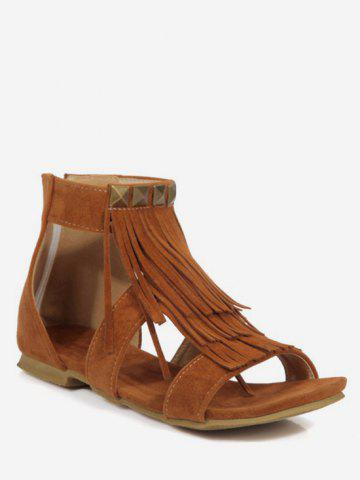 Affordable Plus Size Fringes Casual Flat Heel Sandals