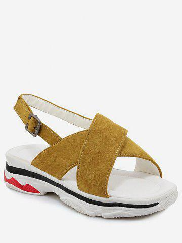 Online Plus Size Cross Strap Casual Platform Heel Sandals