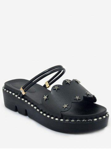Cheap Plus Size Casual Reversible Star Studs Platform Slides