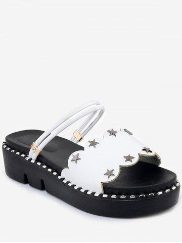 Trendy Plus Size Casual Reversible Star Studs Platform Slides