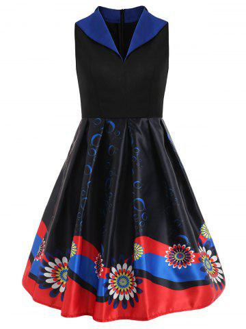 Print Fit and Flare Knee Length Dress
