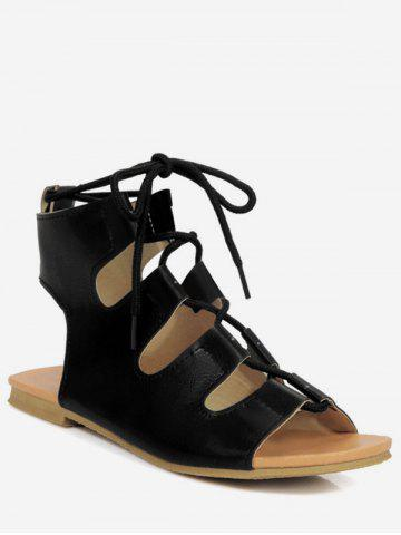 Plus Size Flat Heel Cut Out Ankle Strap Sandals