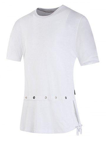 Sale Drawstring Hem Back Belt Decorated Tee