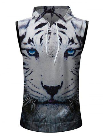 Fashion Casual 3D Tiger Head Printed Hoodie Tank Top