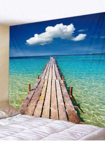 Affordable Seascape Wooden Board Pattern Tapestry Decoration