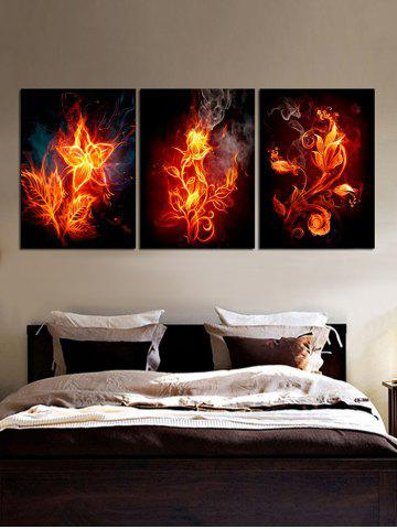 Discount Flaming Flower Print Unframed Split Canvas Paintings