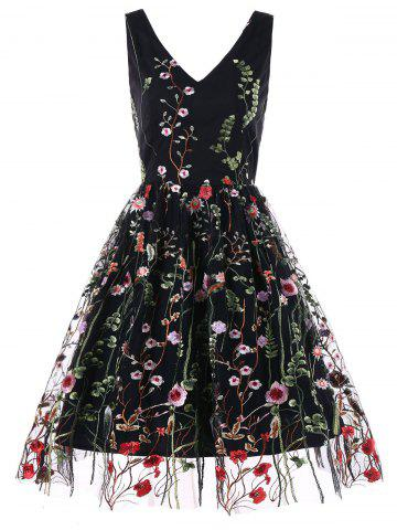Trendy Embroidered Mesh Overlay Fit and Flare Dress
