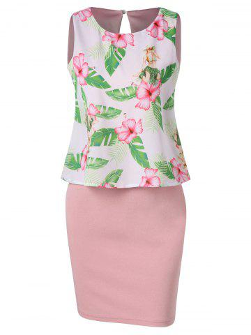 Double Layer Tropical Print Dress