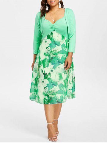 New Plus Size Print Dress with Crop Cape