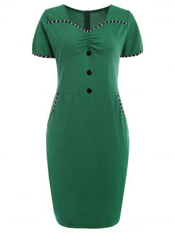 Cheap Buttoned Ruched Vintage Dress