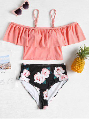 Outfits Flounce High Waisted Floral Swimsuit