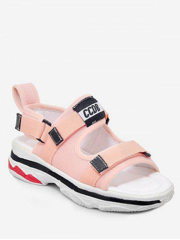 Plus Size Platform Heel Reversible Color Block Sandals - PINK - 37