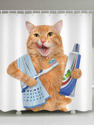 Orange Cat Brushing Teeth Print Shower Curtain -