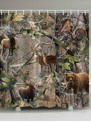 Jungle Animals Print Shower Curtain -